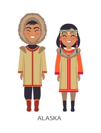 Gente de Alaska en ropa en la ilustración vectorial Foto de archivo - 90652848