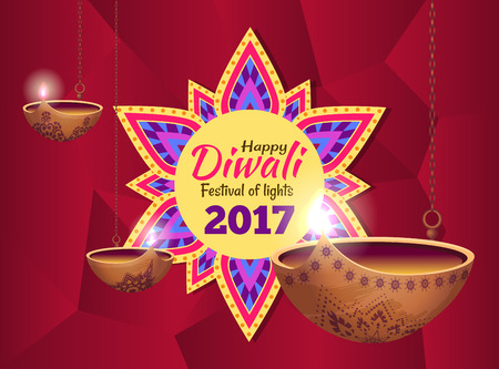 Diwali Festival of Lights on Vector Illustration