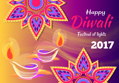 Happy Diwali Festival of Lights 2017 Poster Ilustrace