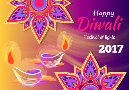 Manifesto di Happy Diwali Festival of Lights 2017 Archivio Fotografico - 90652887