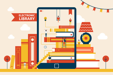Electronic Library Promo Poster with Huge Tablet Vectores