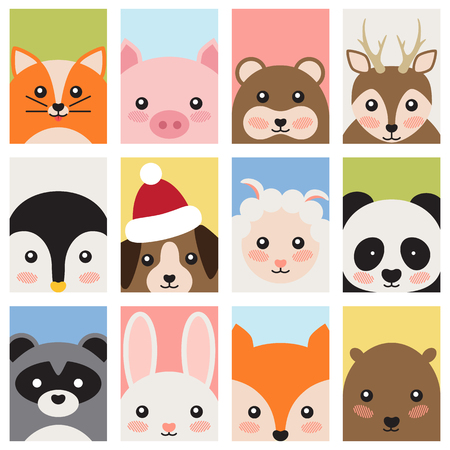 Adorable Baby Animals Faces Cartoon Illustrations