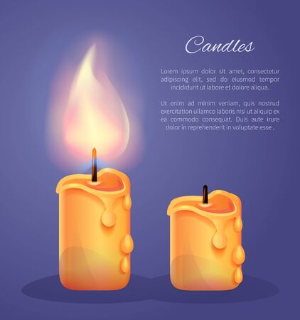 Burning Candles in Realistic Design Vector Icons Banco de Imagens