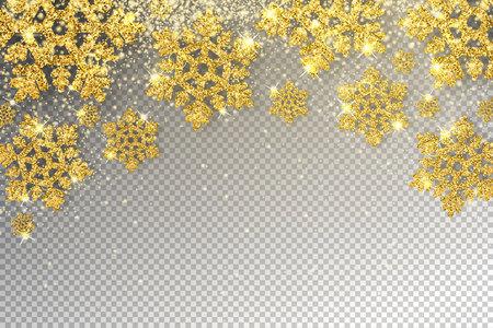 Enorme gouden sneeuwvlokken vectorillustratie