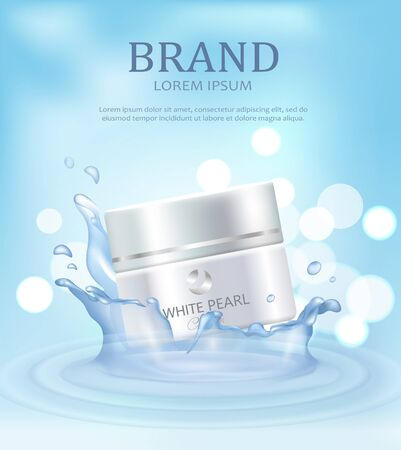 Brand Name Poster with Closeup of Day Pearl Cream Stock Photo