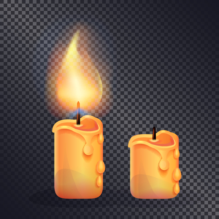 Two Wax Candles on Transparent Background Imagens