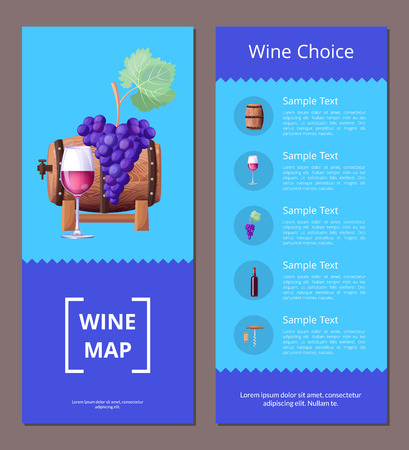 Wine Map Choice Template Vector Illustration Icons 向量圖像