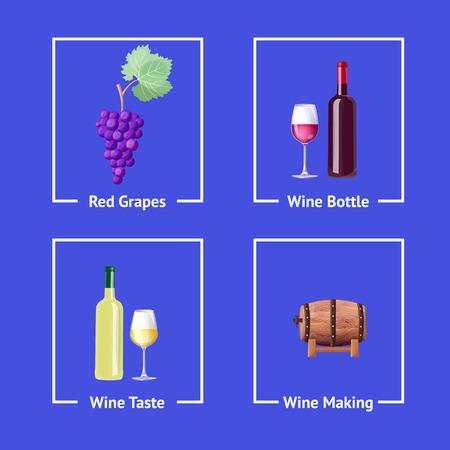 赤と白のワインを作るベクトル図