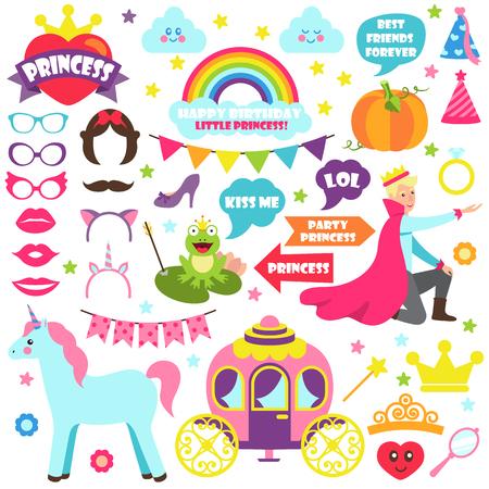 Fairy Tale Carnaval Icons Vector Illustration Set 向量圖像