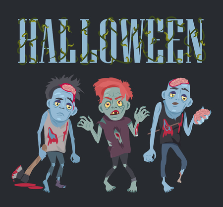 Halloween with Zombies on Vector Illustration Фото со стока - 90923271
