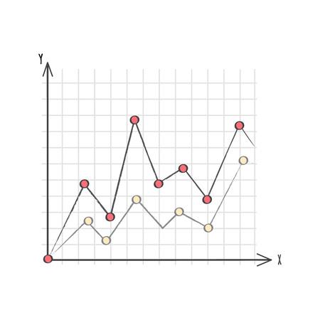 線グラフのデータ プレゼンテーション ベクトル図