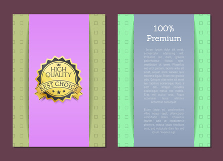 100 premium high quality approved best choice gold label with text vector illustration isolated certificate seal or stamp, flat design Illustration