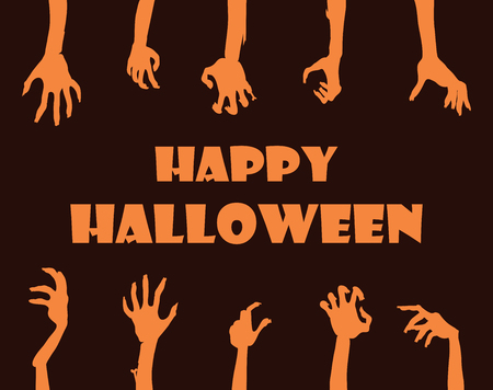 Happy Halloween banner, title sample and hands of zombies and undead people, icons on vector illustration isolated on black background