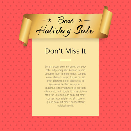 Dont miss best holiday sale promo poster with golden ribbon with premium offer text vector illustration frame on pink background with rhombus elements 向量圖像