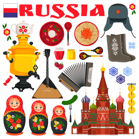 Russia famous items set of icons representing images of typical russian cutlery, churches and traditions vector illustration isolated on white Illustration