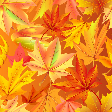 Seamless pattern with autumn yellow leaves, aging process, changing of leaf concept. Vector illustration with fallen orange maples in realistic design