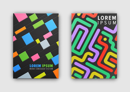 Set of two cover patterns consisting of headline sample, stripes and squares making up mosaic depicted on vector illustration isolated on white