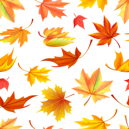 Seamless pattern with autumn yellow leaves, aging process, changing of leaf concept. Vector illustration with fallen orange maple in realistic design