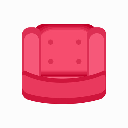 Top view on pink armchair with soft cushion decorated with round buttons. Vector illustration of sofa for one isolated on white background