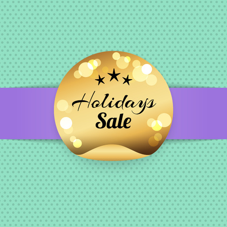 Holiday sale golden label with three stars, best prices poster logo design. Golden seal award vector banner on blue and purple with sparkling elements