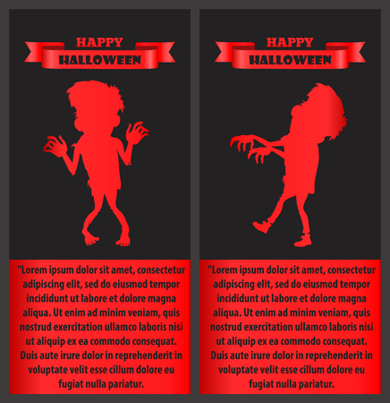 Happy Halloween Congratulation Poster with Monster Illustration