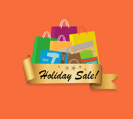 Holiday Sale Shopping Bags Color Set Isolated