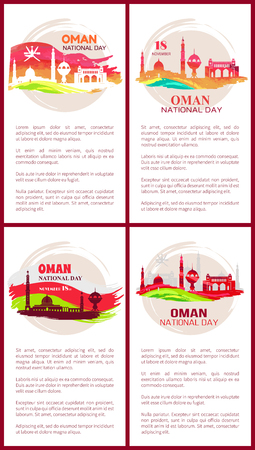 Oman National Day Posters Set Vector Illustration 일러스트