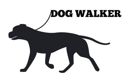 Dog walker design with animal black silhouette isolated on white background. Domestic purebred on walk vector illustration Vettoriali