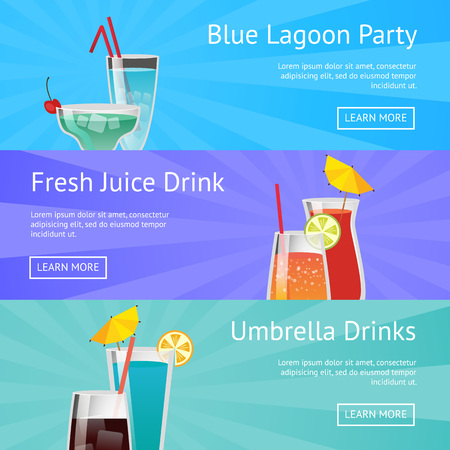 Blue lagoon party fresh juice drinks with umbrella vector icons with alcoholic beverages in beautiful decorated glasses with web buttons