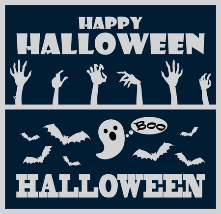 Happy Halloween greeting poster with headline and images of bats and hands of zombies, ghost saying boo vector illustration isolated on blue Illustration