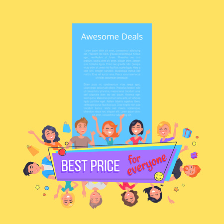 Awesome deals best offer for everyone promotional poster surrounded by customers vector illustration on yellow. People with shopping bags and presents