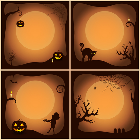 Halloween Posters Collection Vector Illustration Illustration