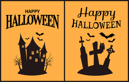 Happy Halloween scary congratulation poster on light orange background. Vector illustration with huge forsaken castle and dark cemetery