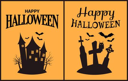 Happy Halloween scary congratulation poster on light orange background. Vector illustration with huge forsaken castle and dark cemetery