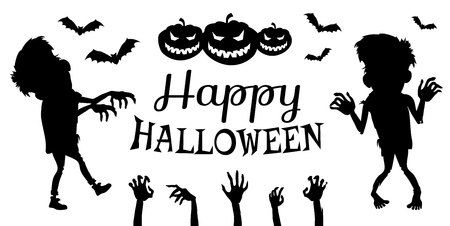 Happy halloween poster black and white image with title in centerpiece and icons of zombies, their hands and bats with pumpkins vector illustration Çizim