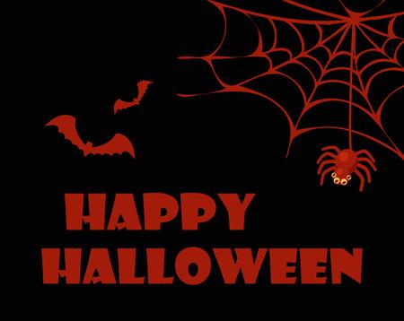 Happy Halloween rood en zwart vectorillustratie