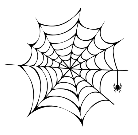 Spider Building His Net Icon Vector Illustration