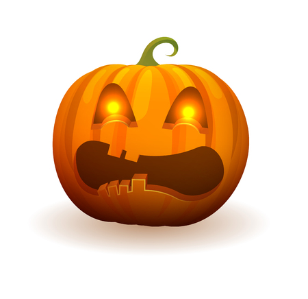Pumpkin with lighted bright eyes, scary angry face and curled stem on top isolated cartoon vector illustration on white background.