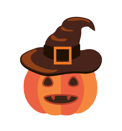 Halloween pumpkin with sharp canines and in old witch hat with huge belt isolated cartoon flat vector illustration on white background. Illustration