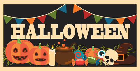 Halloween promotional poster including images of pumpkin, candle and candies, skull and witch hat on vector illustration isolated on dark Vectores