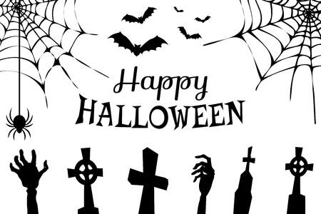 Happy Halloween creepy poster with images of cemetery and hands of dead people, spiders and cobwebs, flying bats vector illustration