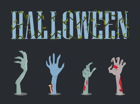 Halloween plakkaat met titel versierd met plant en handen van zombies met griezelige nagels en botten vector illustratie geïsoleerd op zwart