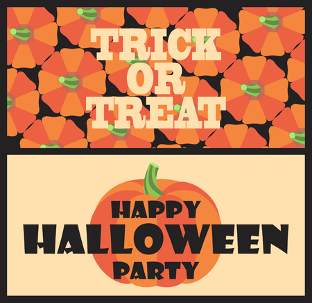 Trick or treat happy Halloween party colorful postcard with orange pumpkins. Vector illustration with scary holiday symbol in black frame