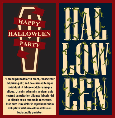 Happy halloween set of posters with text and image of coffin and red ribbon on it, title decorated with green wavy plant, vector illustration Illustration