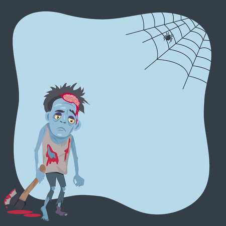 Poster with scary monster with bloody ax and spider creeping on his net. Vector illustration with creature on light blue background Иллюстрация