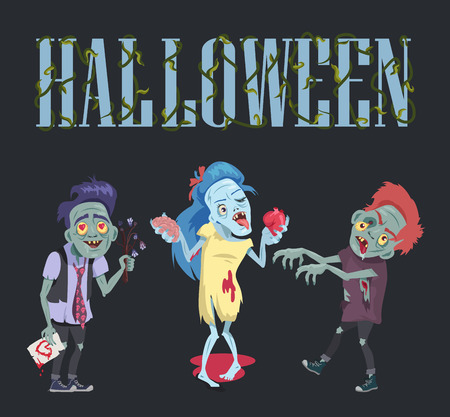Halloween poster with zombies, comic banner with undead man with flowers and card and woman holding brain and heart vector illustration Фото со стока - 90766416