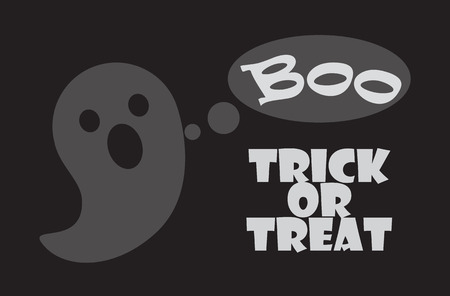 Trick or treat poster with happy Halloween scary ghost frightening with Boo sound. Vector illustration festival of horror symbol isolated on black Иллюстрация