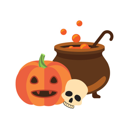 Halloween promotional poster with images of pumpkin and skull, pot with bubbles and potion in it, vector illustration isolated on white
