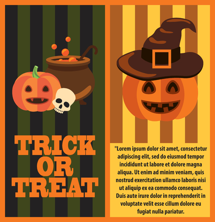 Trick or treat poster with text and icons of pot with potion and bubbles, skull and orange pumpkin near it, witch hat vector illustration