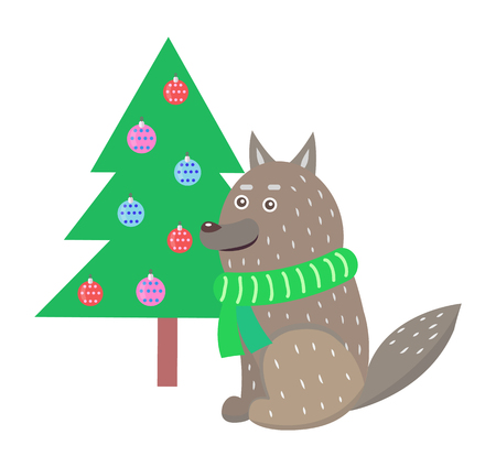 Closeup of wolf wearing green knitted scarf sitting near decorated Christmas tree with color balls vector illustration isolated on white Illustration